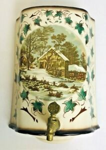 Currier-amp-Ives-Porcelain-Lavabo-Cistern-The-Old-Homestead-in-Winter-Planter-VTG