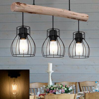 Retro Holz Hänge Strahler Balken Pendel Leuchte Vintage Wohn Zimmer Decken Lampe