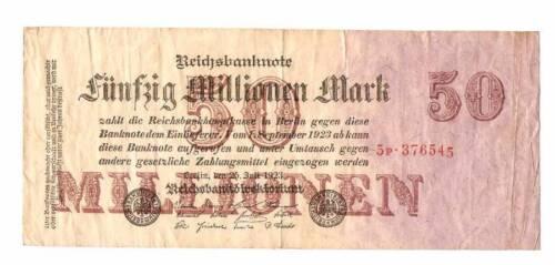 1923 Germany Weimar Republic 50.000.000 50 million mark banknote
