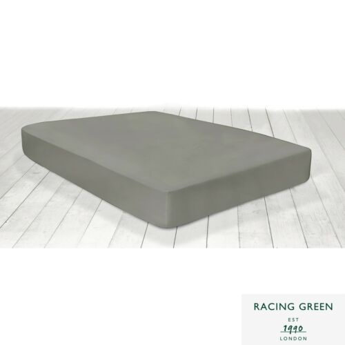 Racing Green Deep Fitted Bed Sheets /& Pillowcases Single Double King Slate Grey