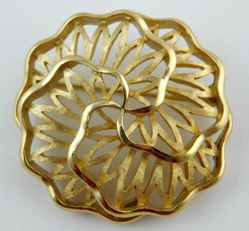 Vintage Signed Trifari Gold Tone Brooch ZigZag Zig Zag Squiggle Abstract Design Pin