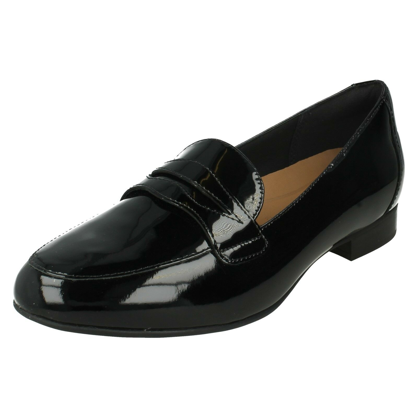 LADIES LADIES LADIES UNSTRUCTUROT CLARKS PATENT SMART CASUAL LOAFERS Schuhe SIZE UN BLUSH GO e38a5b