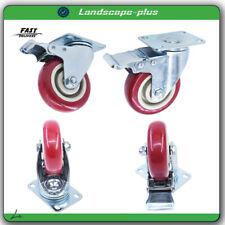 4pcs Set Heavy Duty Caster Wheels Swivel All Brake Casters Non Skid No Mark 4