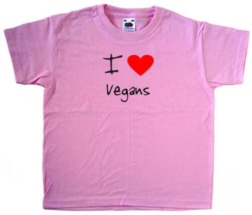 I Love Heart Vegans Pink Kids T-Shirt