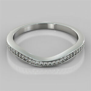 0.22 Ct Round Moissanite Engagement Eternity Band Solid 18K White Gold Ring 5 6