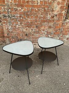 PAIR-OF-MODERN-CONTEMPORARY-METAL-SIDE-LAMP-TABLES-TWO-IKEA-TABLES