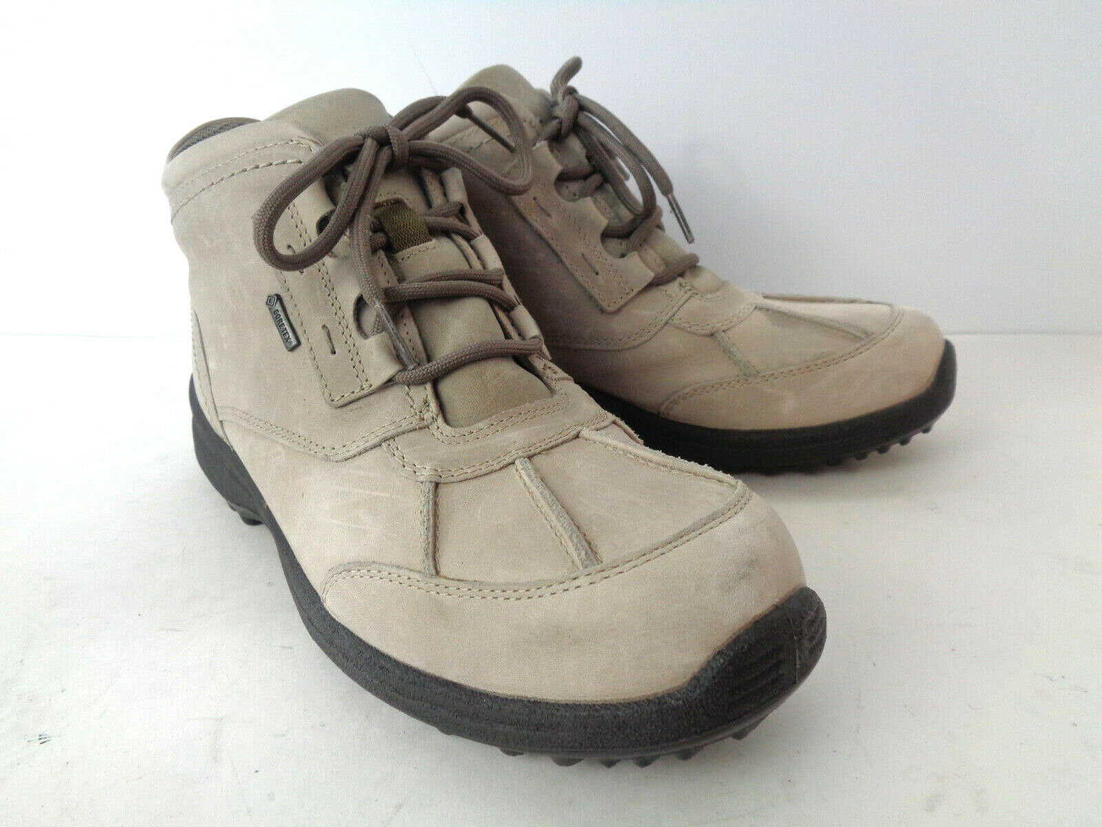 HOTTER Far Boots US 8.5 9M Light Grey leather with Gore Tex Lining Lace Up