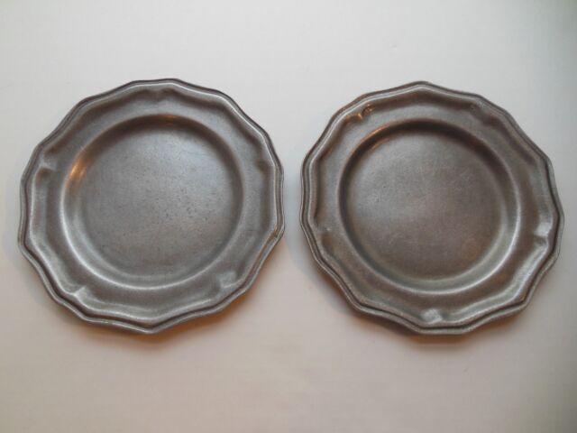 "Vintage Pewter Saucers Carson Small Plates 7 1/2"" Renaissance Tableware Metal"