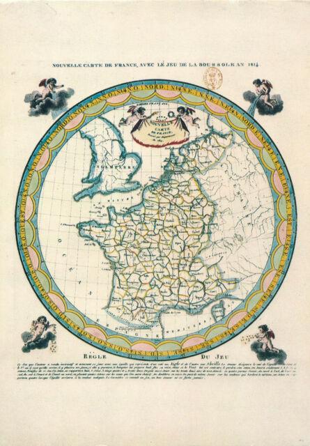 Nouvelle Carte France Avec le jeu Boussole 1814 -Vintage Postcard Rare Map 1987 | eBay