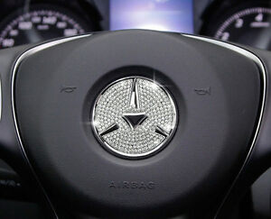 Image Is Loading Sliver Car ACCESSORIES Steering Wheel Logo Diamond  Decoration