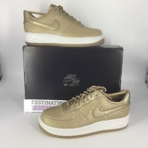 Details about Nike AF1 Air Force 1 W 10.5 M 9 Metallic Snake Premium Gold Leather Sneakers