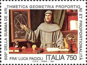 ITALIA-ITALY-1994-Fra-Luca-PACIOLI-Mathematics-Science-Stamp-MNH