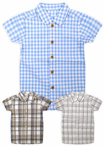 Boys-Short-Sleeved-Check-Shirt-New-Kids-100-Cotton-Summer-Shirts-Ages-2-5-Years