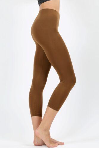 Womens Classic Seamless Capri Leggings 3//4 Nylon Line Detail Sport Regular Plus