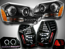 2005-2007 DODGE MAGNUM DUAL CCFL HALO BLACK LED PROJECTOR HEADLIGHTS +TAIL LIGHT