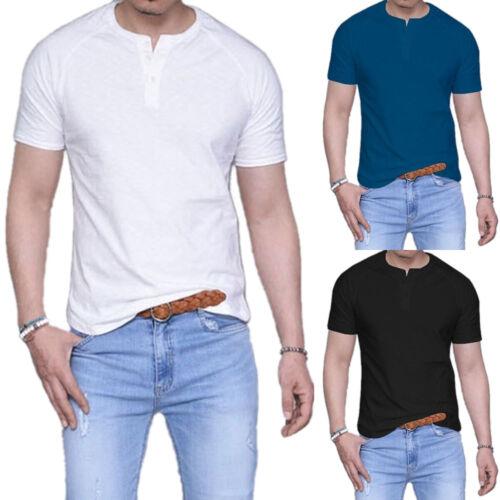 Men Summer Short Sleeve T-Shirts Plain Fitted Basic Tee Shirt Casual Tops S-3XL