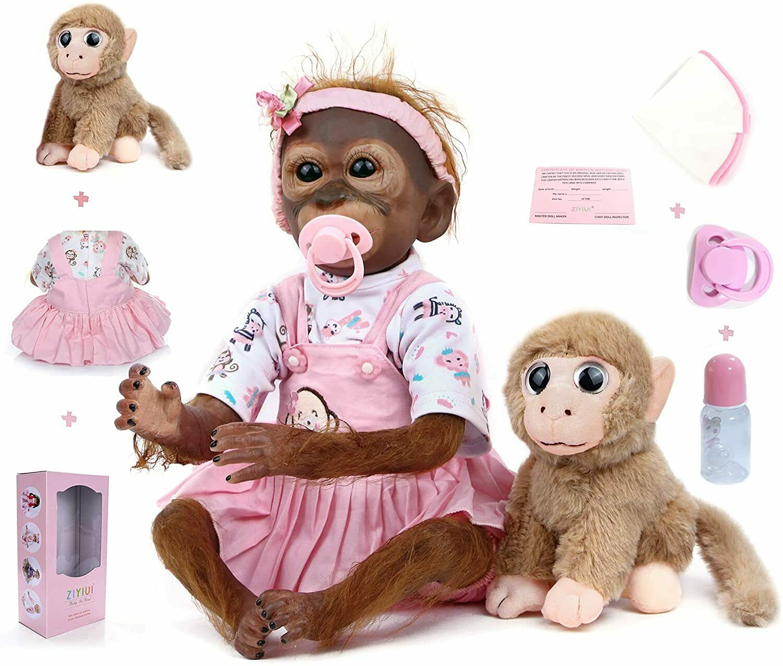"21"" Monkey Baby Reborn Dolls Soft Silicone Handmade Vinyl Realistic Xmas Toys"