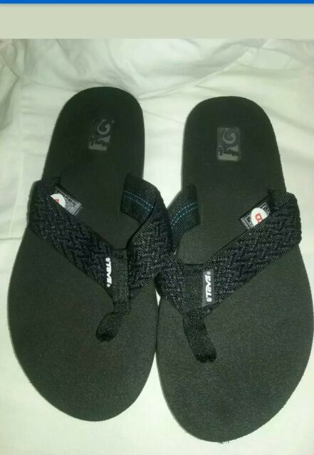 06f0de6ca8c7c7 Teva Womens 7 Flip Flops Sandals Mush II Fronds Black 4198 for sale ...