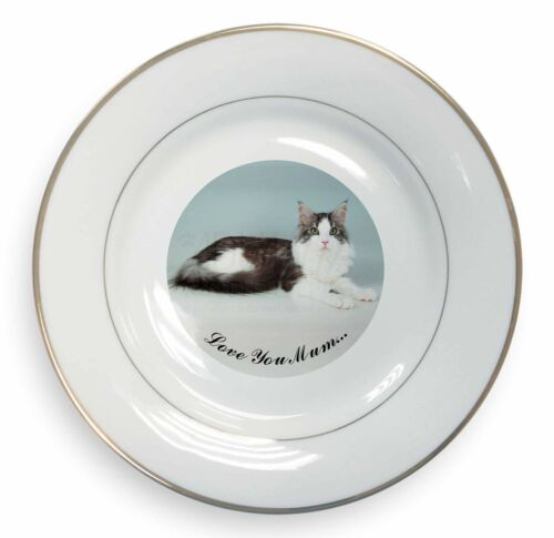 Maine Coon Cat 'Love You Mum' Gold Rim Plate in Gift Box Christmas P, AC36lymPL