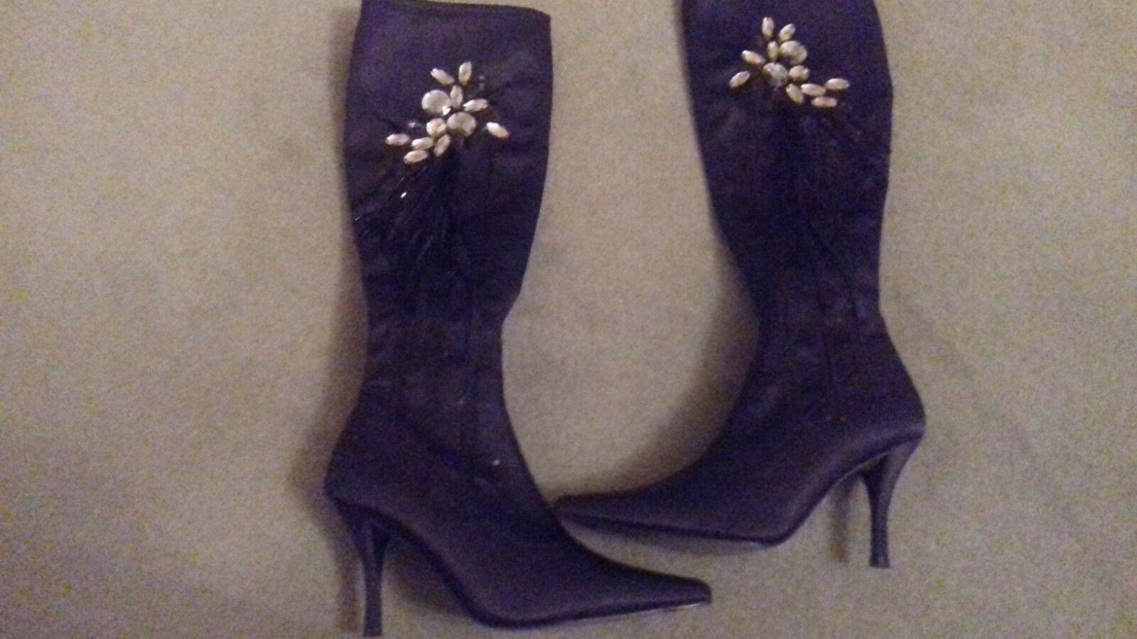 BOURNE BLACK SATIN JEWELLED BOOTS SIZE 4