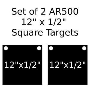 """Set of 2 AR500 Steel Target Square 1//2/"""" x 8/"""" Painted Black Shooting Practice"""