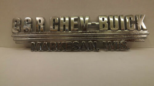 Vtg NOS Chevy//Buick Dealership Trunk Lid Emblem Dealer Badge Markesan Wisconsin