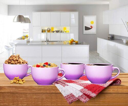Bruntmor Wide Ceramic Tea Coffee Mug Set 24 Ounce Jumbo Soup Bowl Set of 4