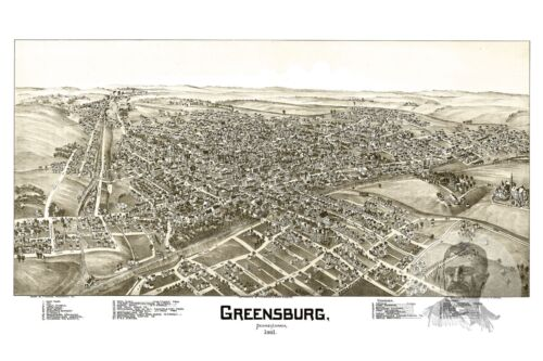 Old Map of Greensburg Vintage Pennsylvania Art PA from 1901 Historic Decor