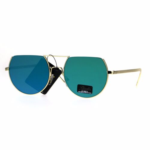 Giselle Flat Top Designer Fashion Womens Metal Rim Round Sunglasses