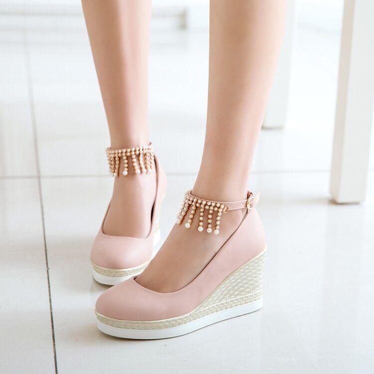 Women Wedge High Heels Tassel Round Toe Pumps Buckle Ankle Strap shoes EUR 35-43