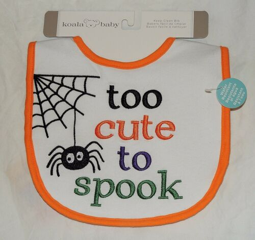 NEW Baby First Halloween Bib Too Cute to Spook Spider Web Spiderweb Waterproof