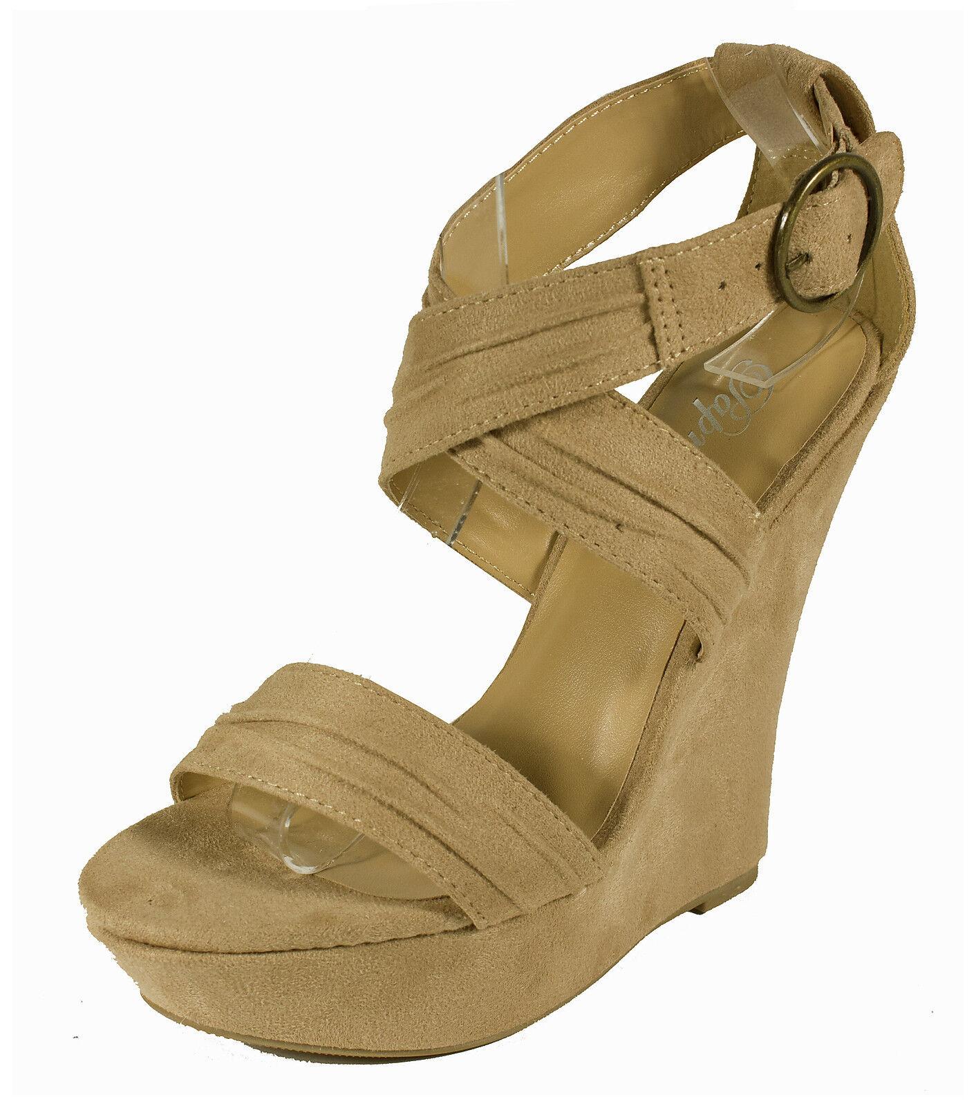 Garzon! Sandal Paprika Women's Strappy Platform Wedge Sandal Garzon! in Oatmeal Faux Suede 6a7ea0