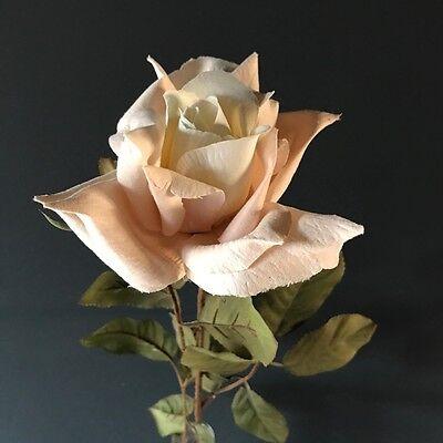Dusky Pink Faux Silk Rose Bud Realistic Artificial Light Dusty Pink Flower