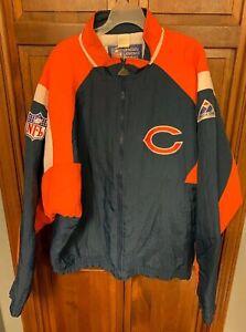 Apex One Chicago Bears NFL Full Zip Puffer Jacket Men L XL Blue Orange White