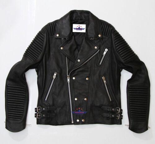 God Gift Men/'s Black and white Motor Biker SPEED Real Leather Jacket 2017