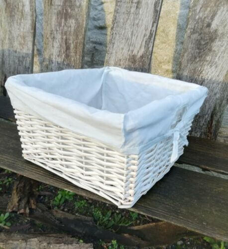 Osier panier saule split cane fait main peint blanc stockage Coton Intérieur