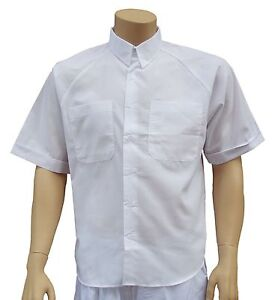 CATHEDRAL-3-Mens-Short-Sleeve-Shirt-2-Pockets-White-Poly-Cotton-Seconds-Quality