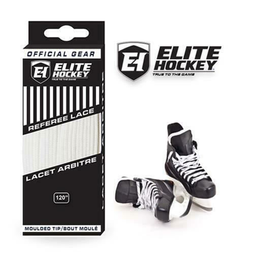 ELITE Referee Moulded Tip Non-Waxed Hockey Skate Laces Solid White