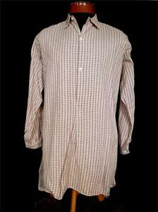 RARE-VINTAGE-1940-039-S-FRENCH-LIGHT-BROWN-PLAID-COTTON-GRANDFATHER-SHIRT-SZ-LARGE