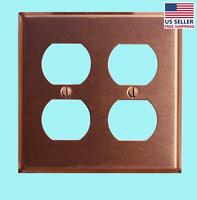 Switchplate Brushed Solid Copper Double Outlet | Renovator's Supply on sale