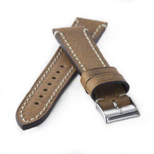 Uhrenarmband-Kaufmann-Saddle-Vintage-stitched-hellbraun-Kalb-Leder-Armband-NEU