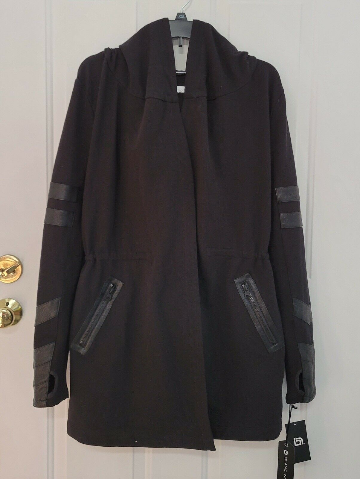 Blanc Noir Women's Black Hooded Jacket Long Sleeves Faux Leather Trim Size S NWT