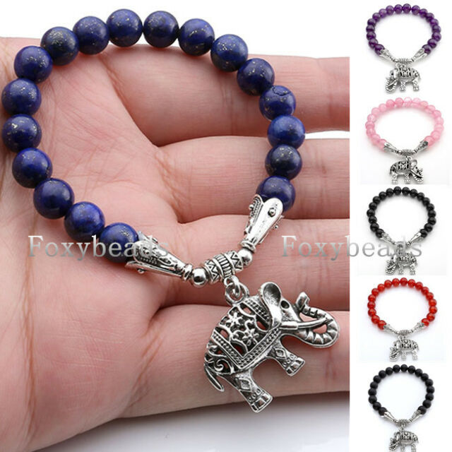 Elastic Hollow Elephant Auspicious 8mm Gemstone Beads Bangle Bracelet Jewelry