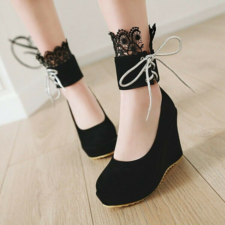Ankle Strap Wedge Heels Mary Jane Lolita Women Pump shoes Strappy Lace Platform