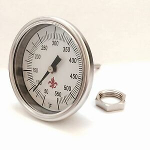 """BBQ/Smoker/Pit Stainless Steel Thermometer 3"""" diameter calibration screw & nut"""