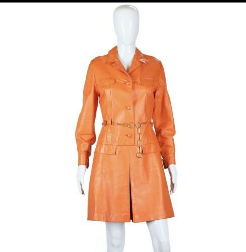 1960s Orange Leather Romper Medium Jumpsuit