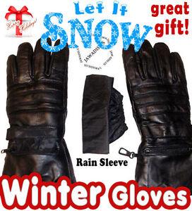 Men S Black Lambskin Leather Cold Winter Gloves Motorcycle Gloves Bike Gloves Ebay