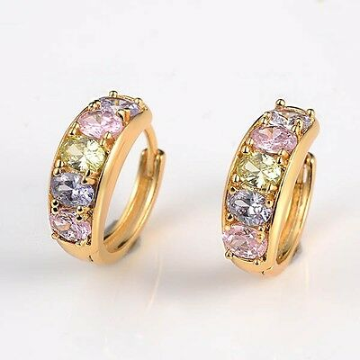 18k Yellow Gold Filled Lady Charming Earrings Multicolor CZ 16mm Fashion Hoops