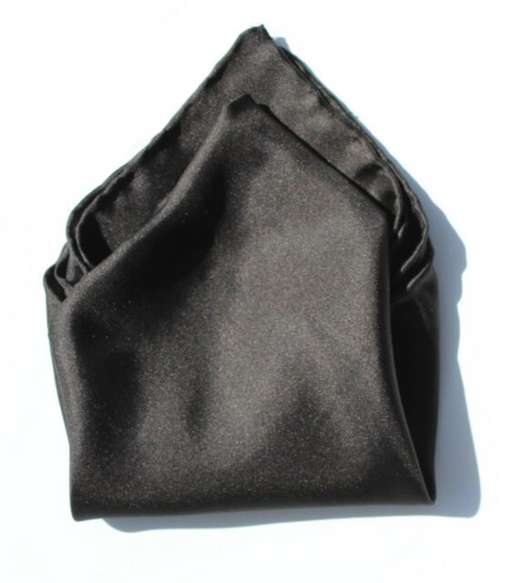 Gentleman's Hand-Rolled Solid Black 100% Silk 16-Inch Pocket Square/Handkerchief