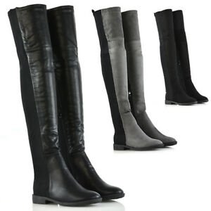 Womens-Stretch-Leg-Over-The-Knee-Flat-Heel-Ladies-Thigh-High-Winter-Boots-3-8